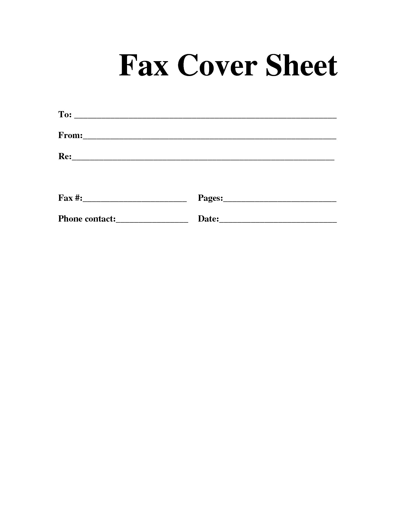 Blank Fax Cover Letter sheets for FaxCoverSheetResumeTemplate