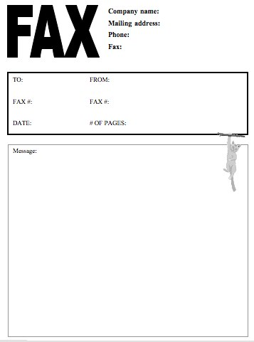 Fax Cover Letter template company name with mailing adress white background fax cover sheet