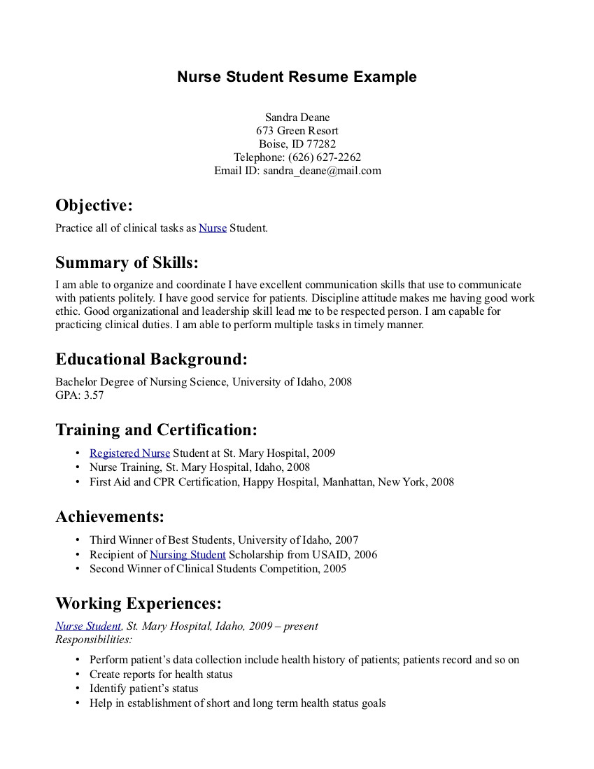 Nursing Resume template Simple-Nursing-Students-Resume-Example-With ...