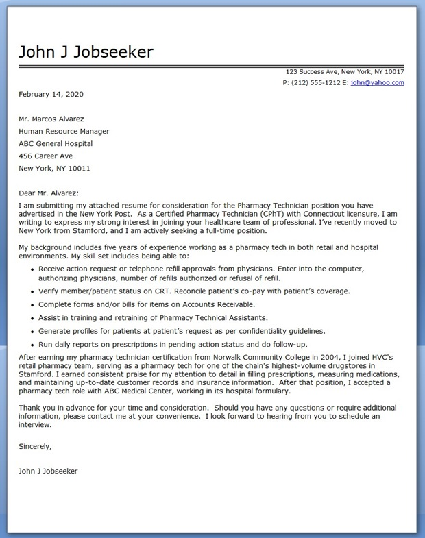 pharmacy technician letter ptcb sample pharmacy technician resume cover letter - Sample Pharmacy Technician Resume Cover Letter