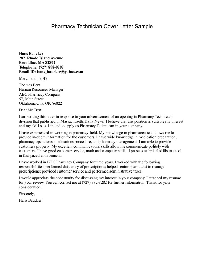 Pharmacy Technician Letter Pharmacist Cover Letter Sample Cover