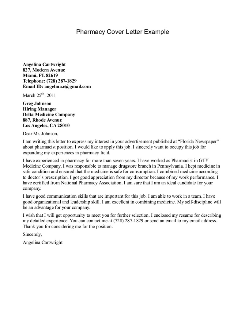 Pharmacy Technician's Letter Pharmacy-Cover-Letter-Example-2015-With-GTY-Medicine-Company-Work-Experience