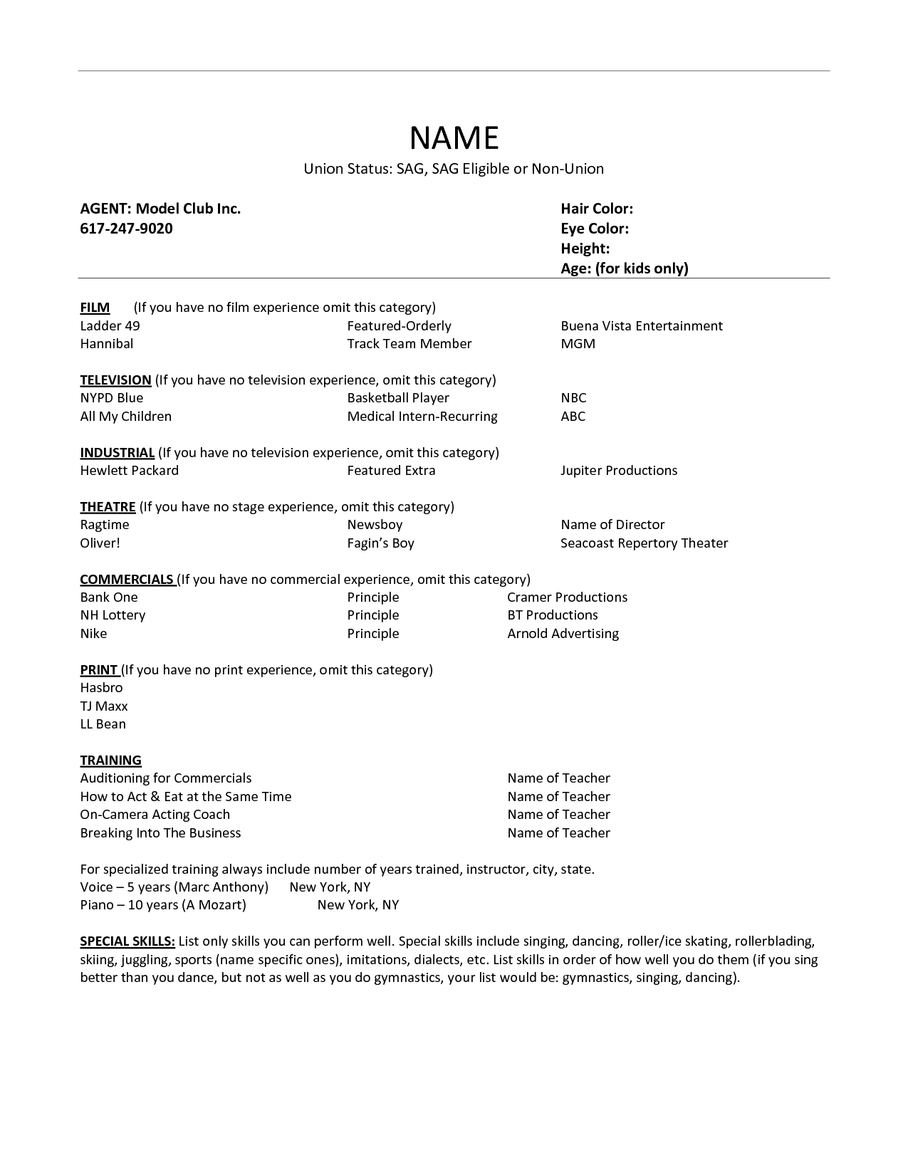 Acting Resume Example Download Ideas Builder Acting Resume Template
