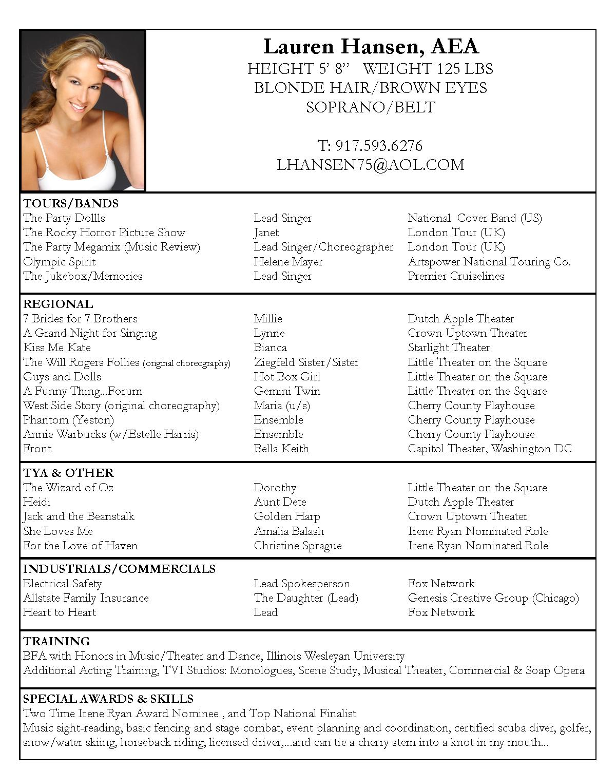 acting resume sample free acting resume template pdf by lauren hansen