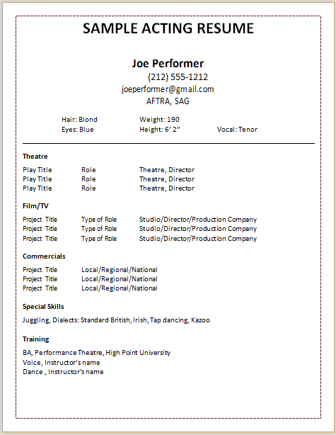 acting resume template acting resume template download by joe performer