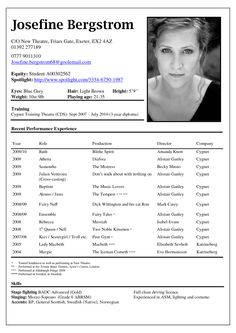 acting resume template by josefine bergstrom