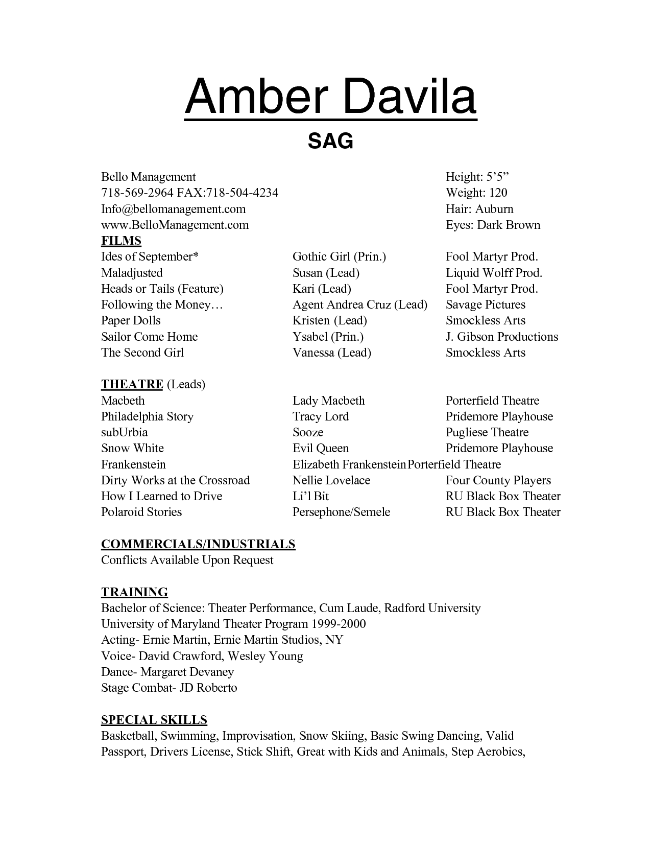 talent resume template free acting resume templates samplebusinessresume 25019