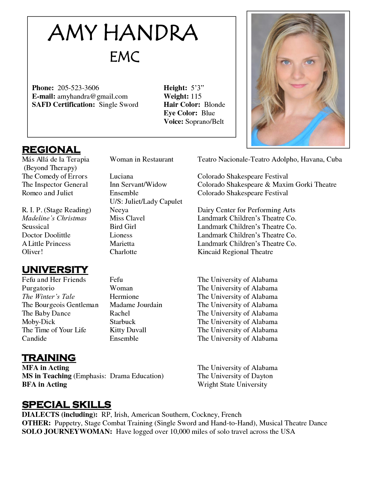 acting resume template for mac by amy handra - Acting Resume Template