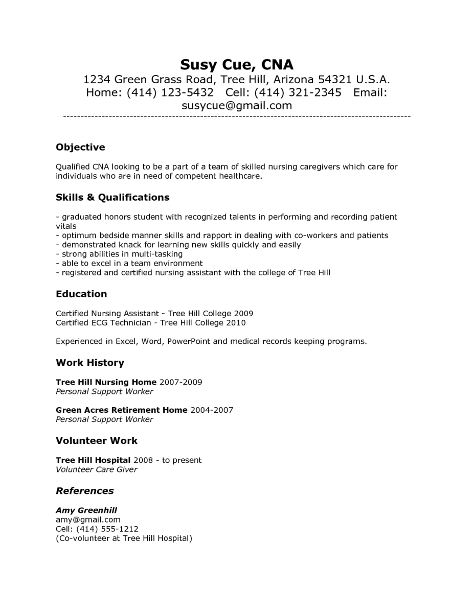 cna resume cover letter cna objective resume sample 2015 certified nursing cna resume cover letter susy - Sample Certified Nursing Assistant Resume