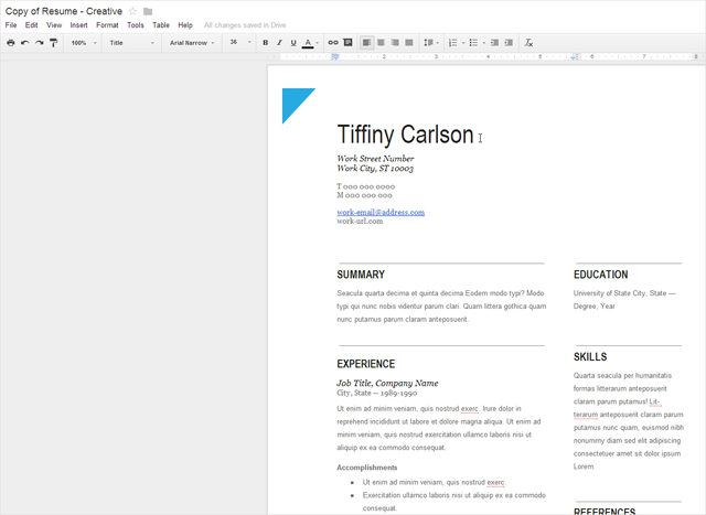 Google docs resume template initials five92 tiffiny for Google docs script template