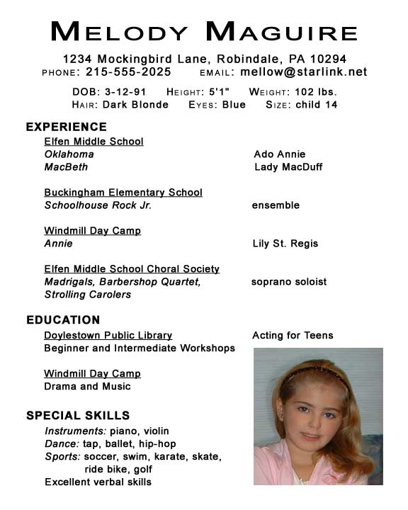 Wonderful Kids Acting Resume Template By Melody Maguire