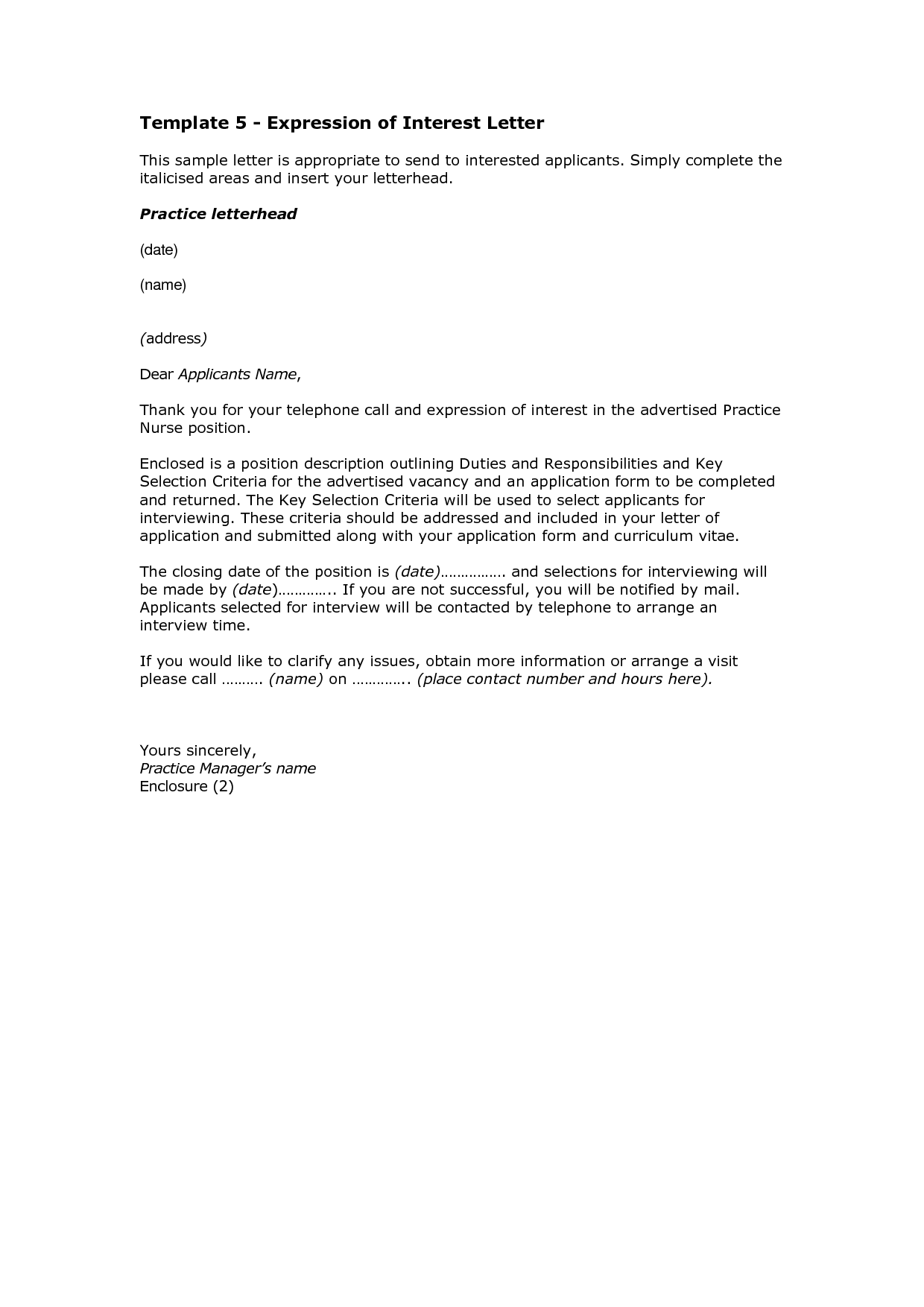 letter of interest format for project letter of interest template