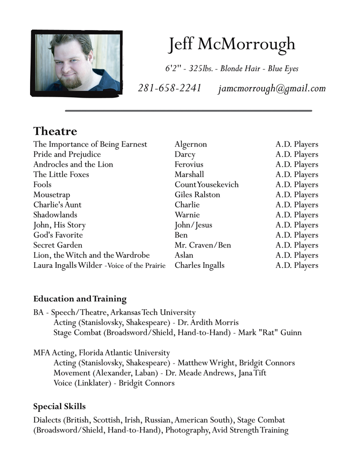 sample acting resume template pages musical theatre free online