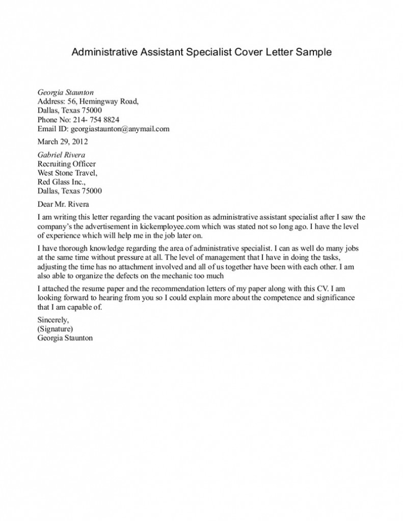 Sample Cover Letter Administrative Assistant For Job On The  Cover Letter For Administrative Position