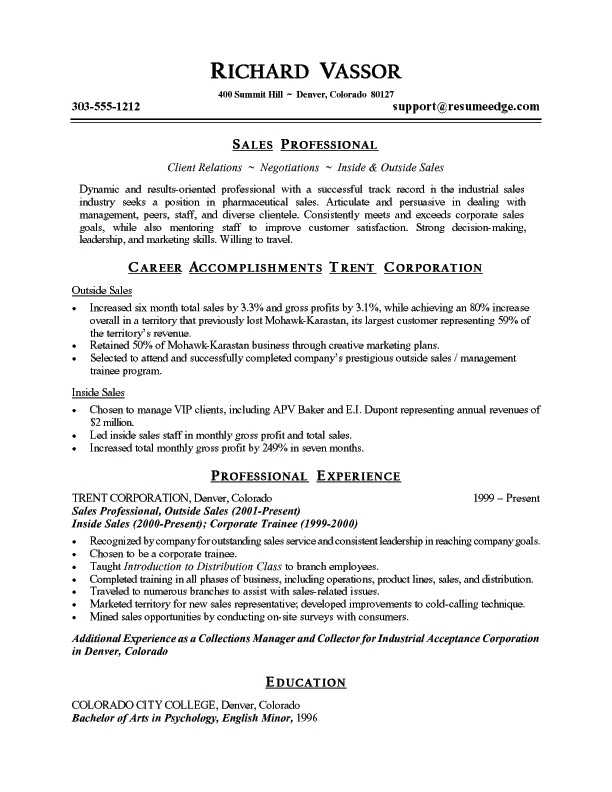 summary for resume examples professional summary examples for sales by richard vassor
