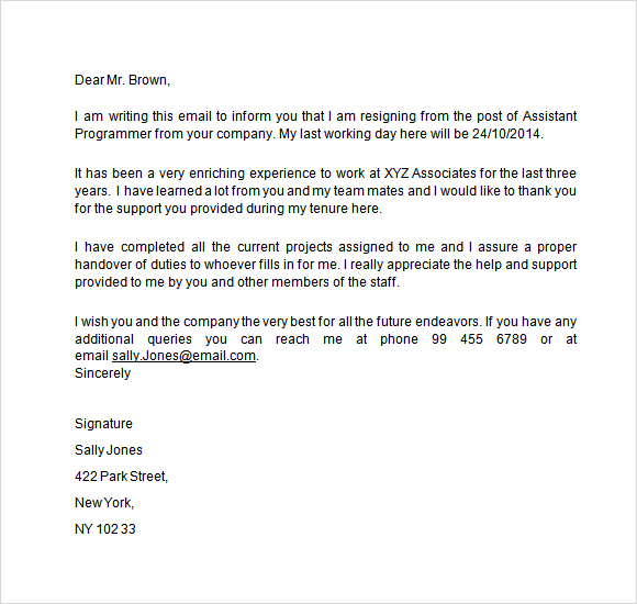 2 Weeks Notice Email 2 Weeks Notice Template Email