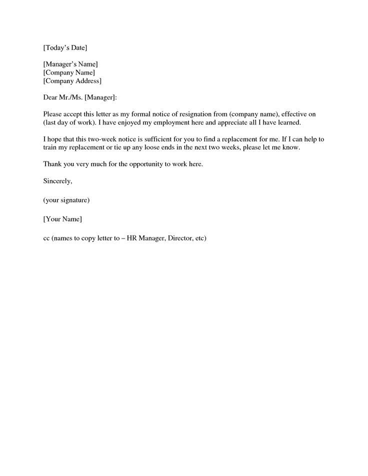 Formal Week Notice. Resignation Letter This Example 2 Week Notice