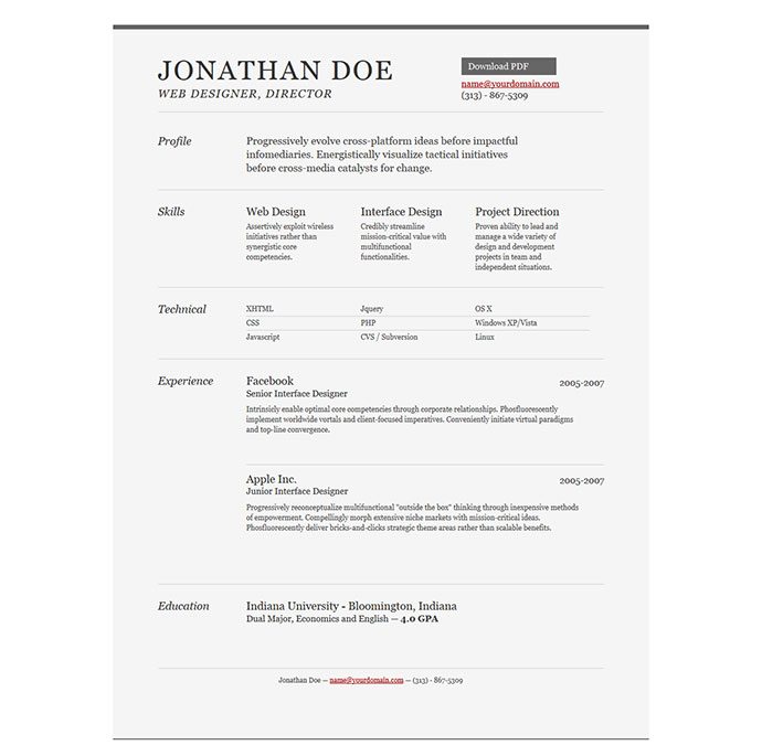 2016 Free Creative & professional photoshop CV template by Jonathan Doe