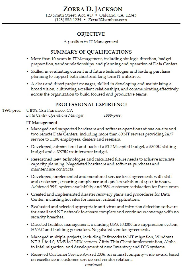 sample resume professional summary