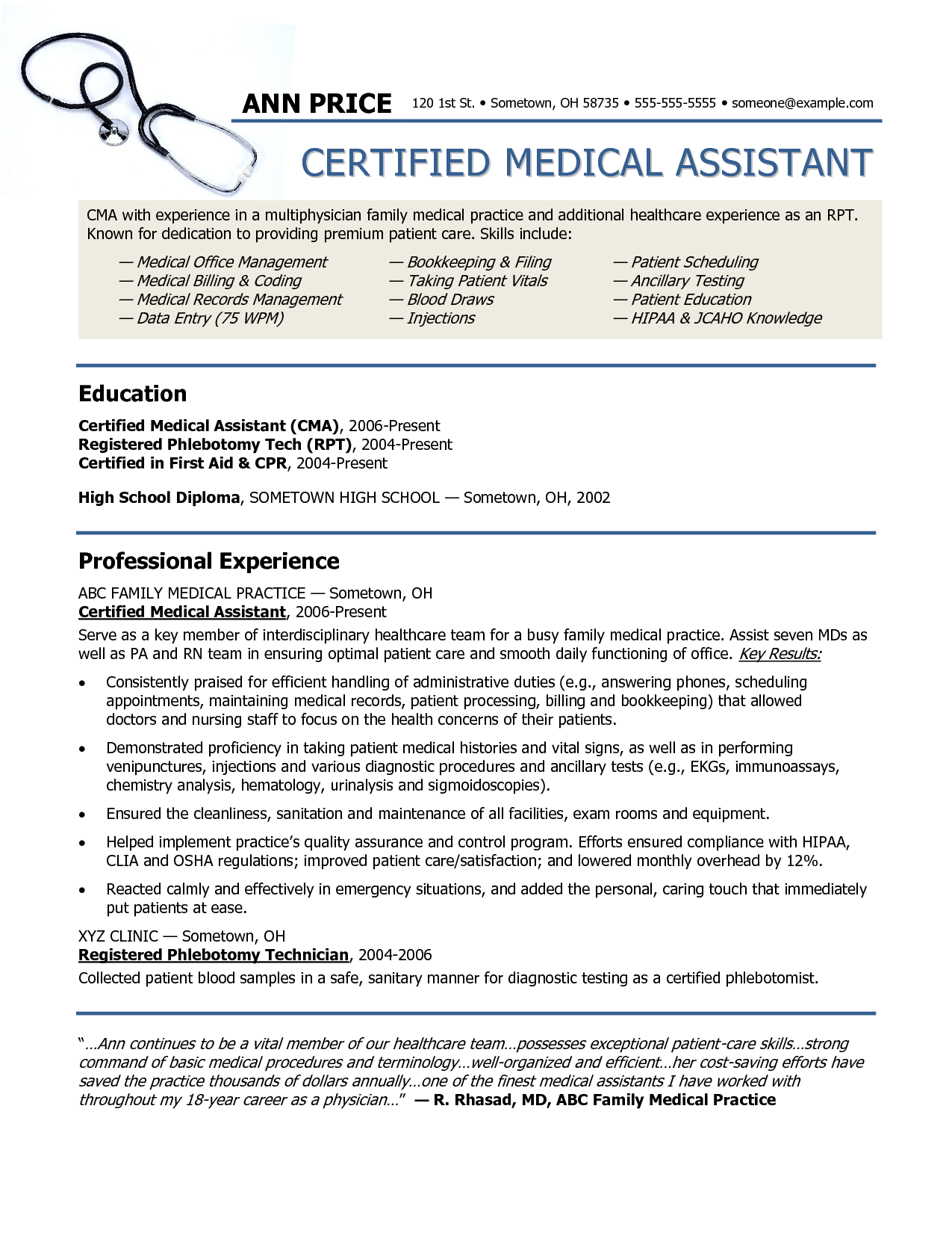 An example resume for your medical assistant application sample resume for medical assistant