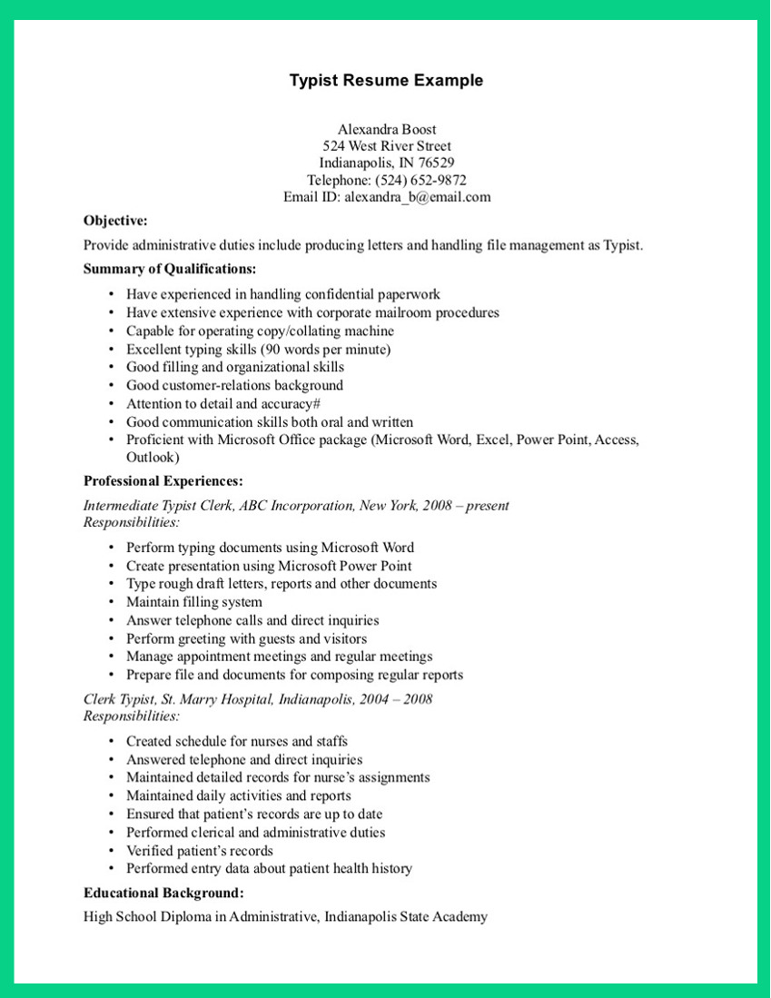 resume for bank jobs