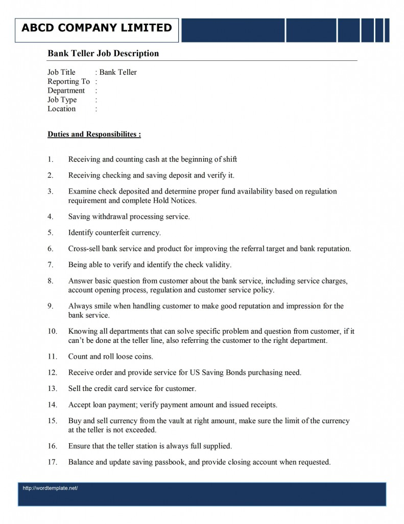 Bank Teller Job Description sample job description for bank teller