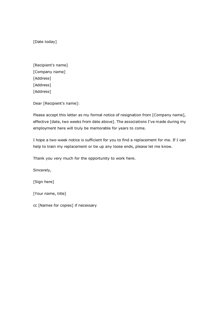 basic two week notice letter of blank easy resignation 2 weeks notice