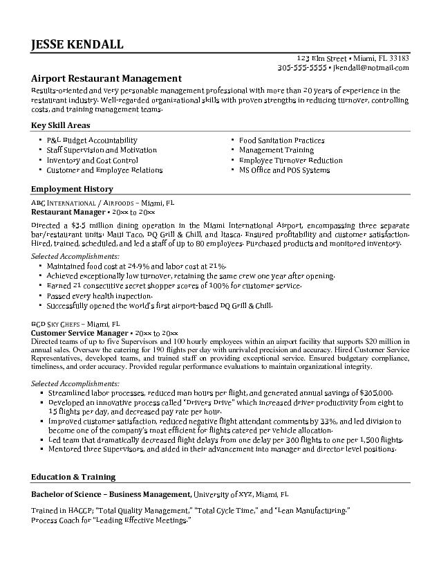 Best Airport Restaurant manager unit with employment career history and key skills area Restaurant Manager Resume Samples