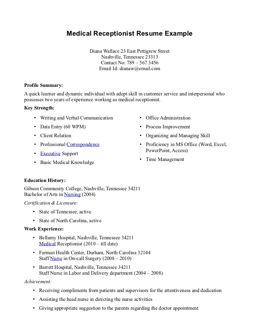 Resume Examples For Medical Assistant Free Professional Resume