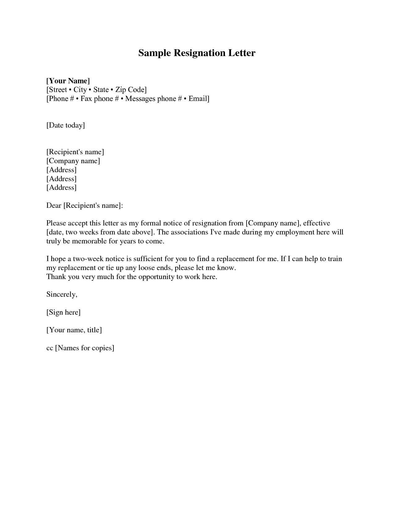 Blank basic sample two weeks notice resignation letter for Written notice letter template