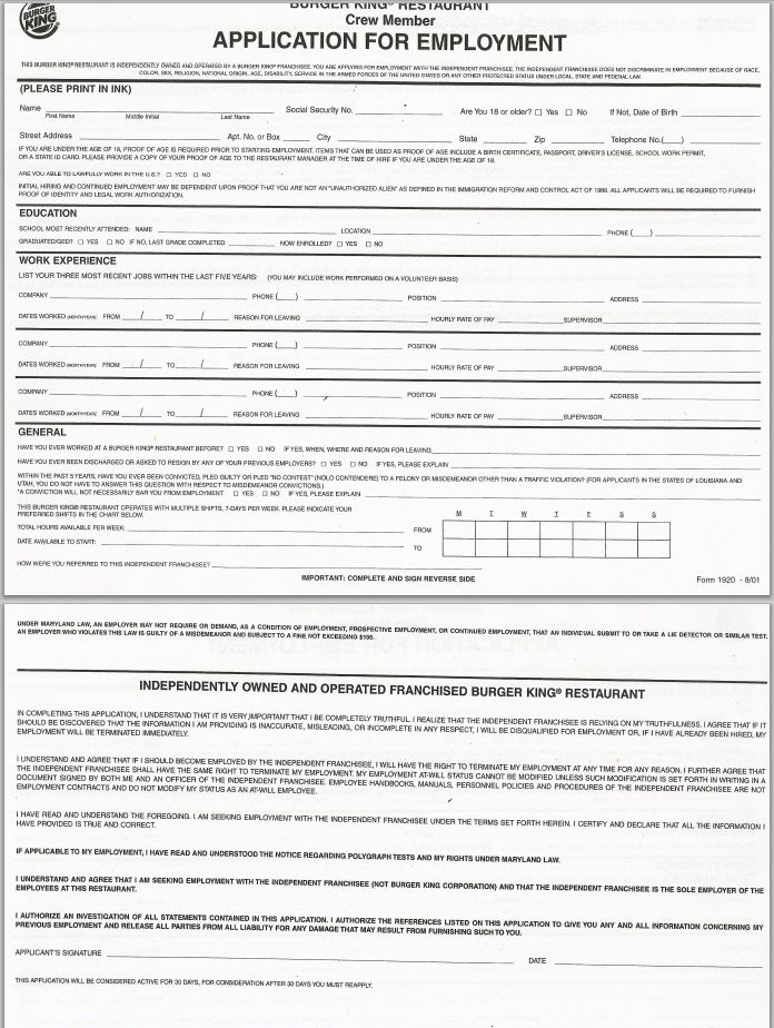 Burger King Manager Resume Employment Application Form Employment