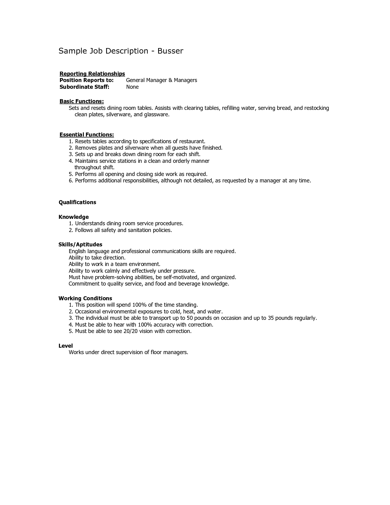 Busser Job Description for Resume  SampleBusinessResume.com : SampleBusinessResume.com