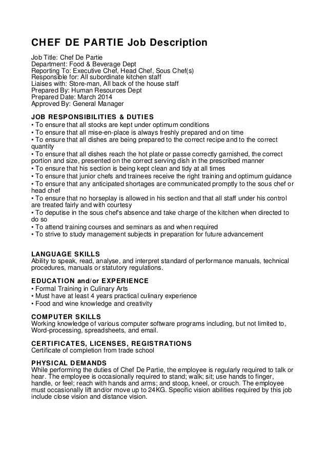 sous chef job description for resume