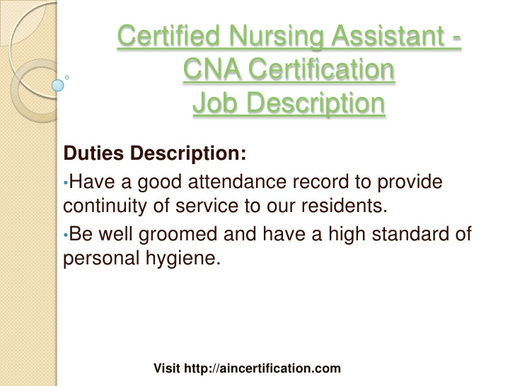 sample cna certified nursing assistant job description