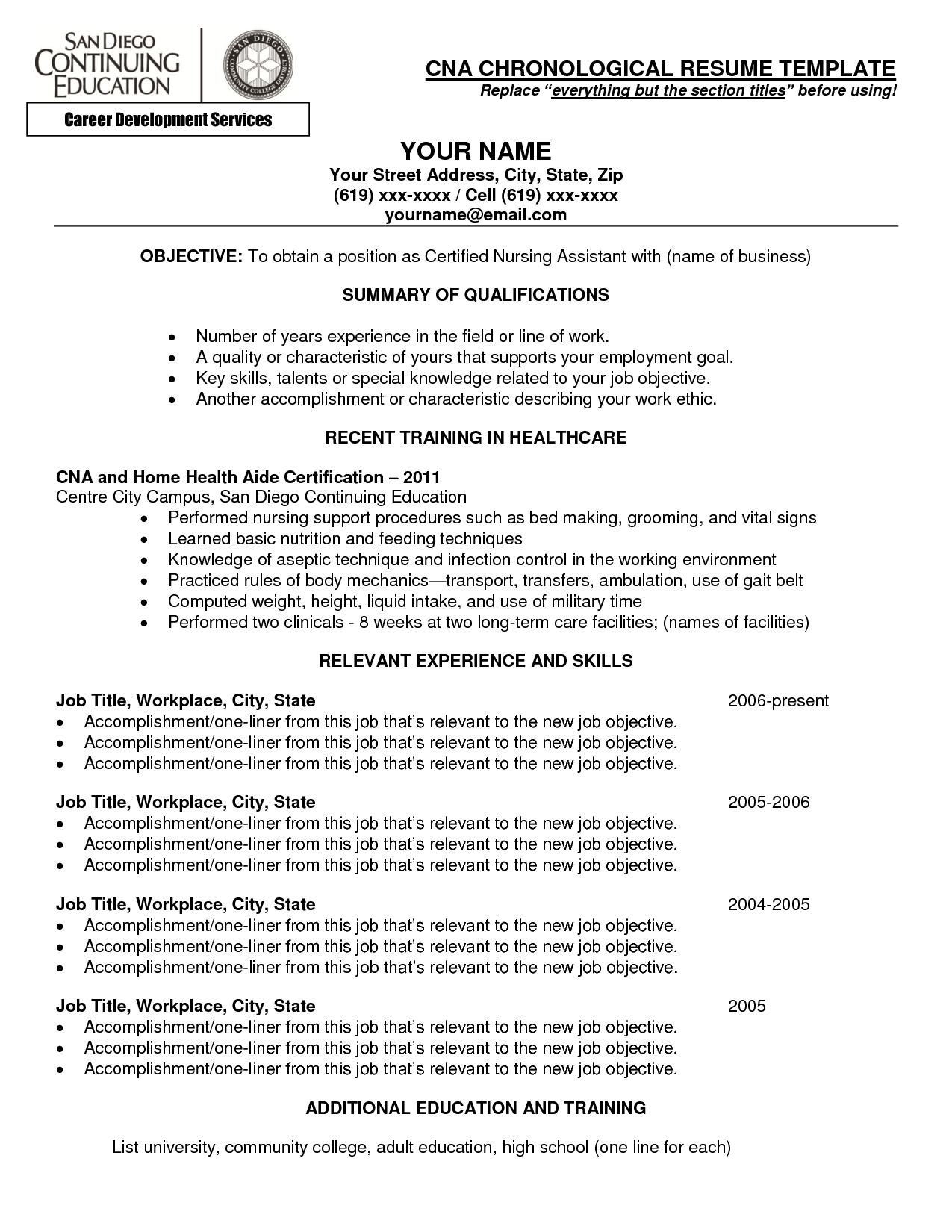CNA chronological resume template with relevant experience and skills list of cna skills for resume