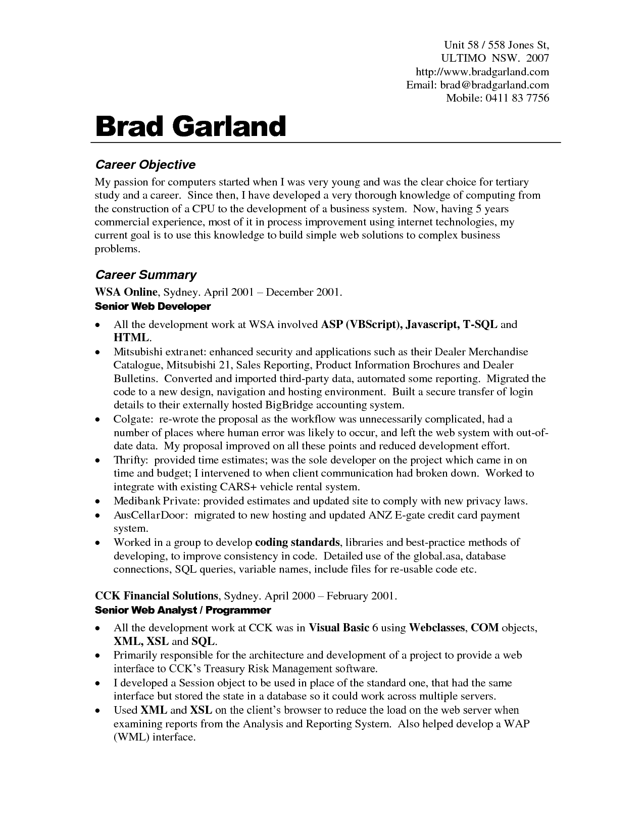 career objective for resume and career objectives statement senior web developer