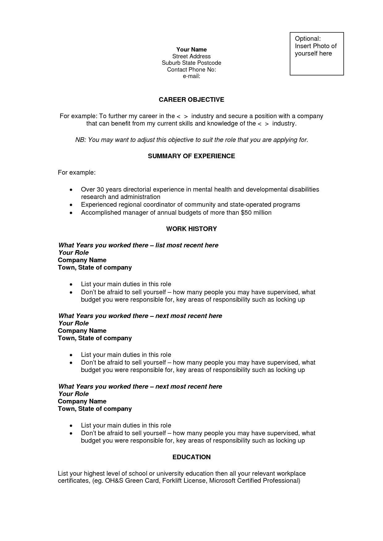 career objectives template - Bjective Resume Examples