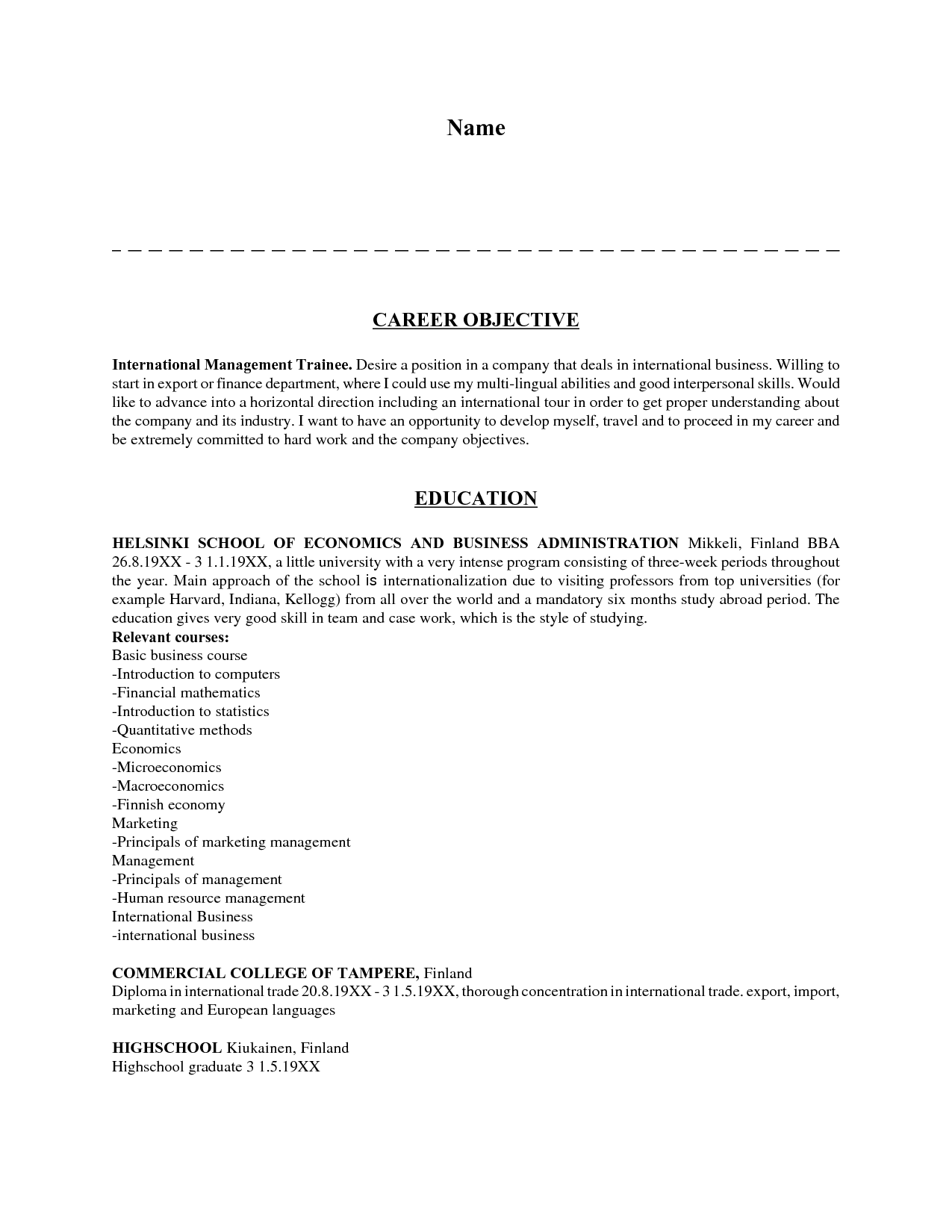 job objectives for resume examples