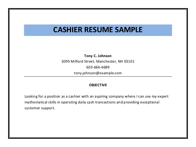 Cashier job duties for resume