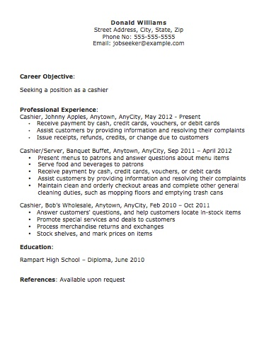 Best Sample Resume for Cashier Resume 2016 - SampleBusinessResume ...