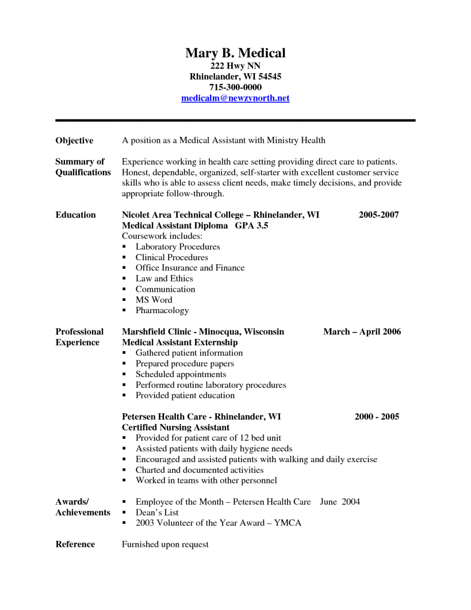 medical assistant resume. career objective example for resume ...