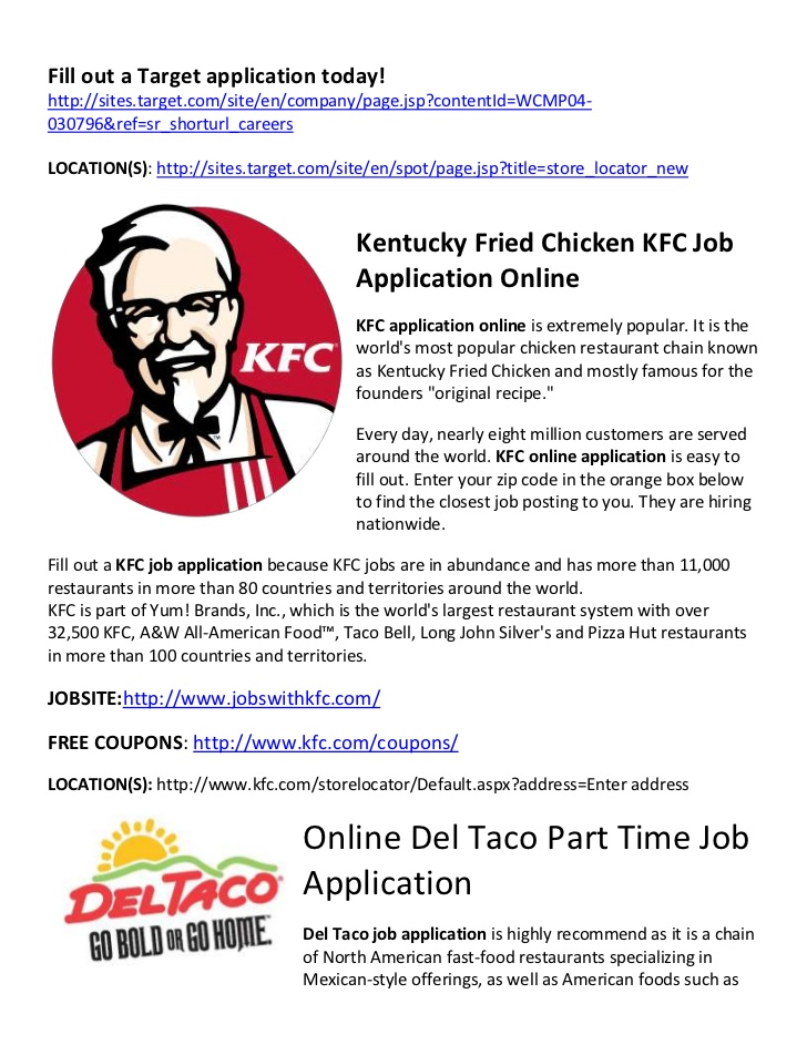 kfc employment job application