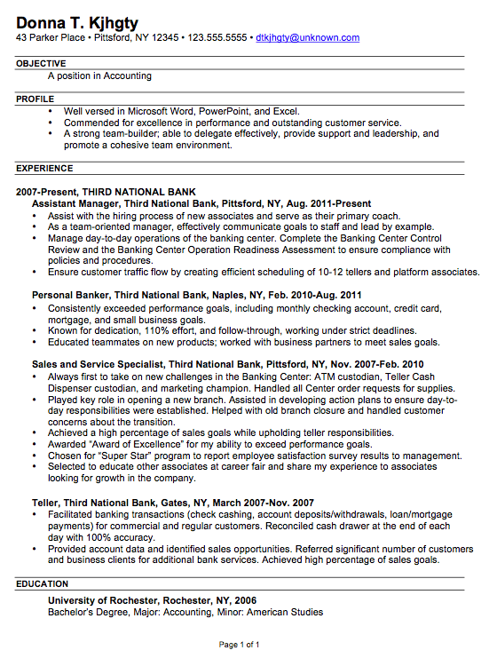 chronological resume sample accounting chronological resume resume examples 2014 customer service by donna - Examples Of Chronological Resumes