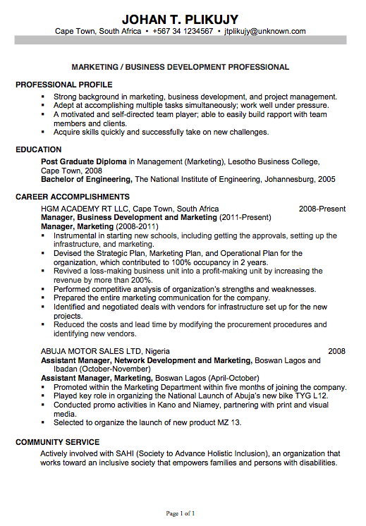 chronological resume sample marketing business development resume examples 2014 with headline by johan plikujy - Resume Samples For Marketing