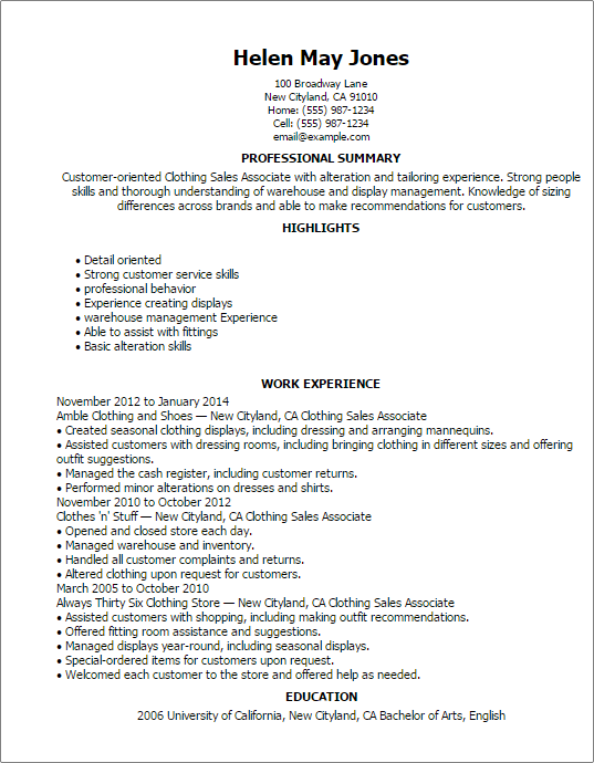 clothing sales associate resume templates duties of a