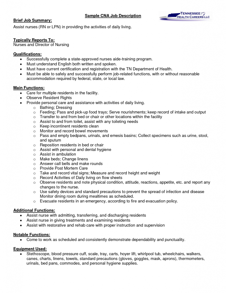 cna description for resume for seeking assistant