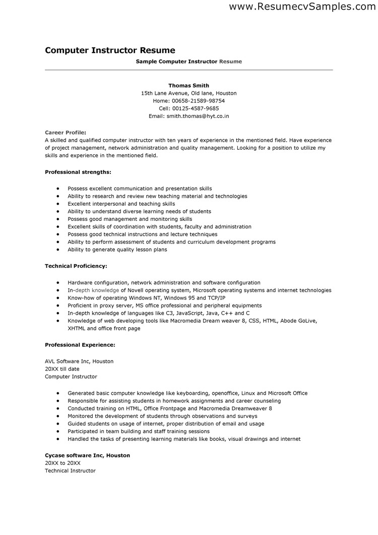 resume sample computer skills - Resume Sample Computer Skills
