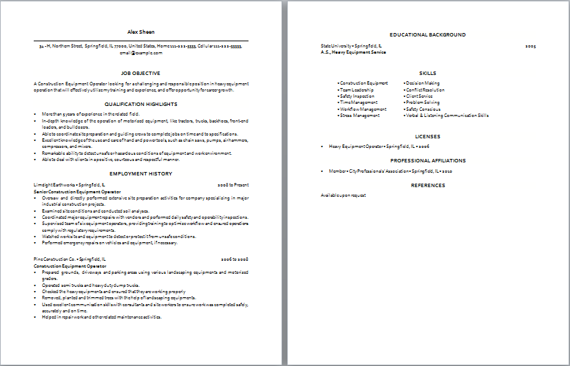 construction equipment operator resume sample two pages
