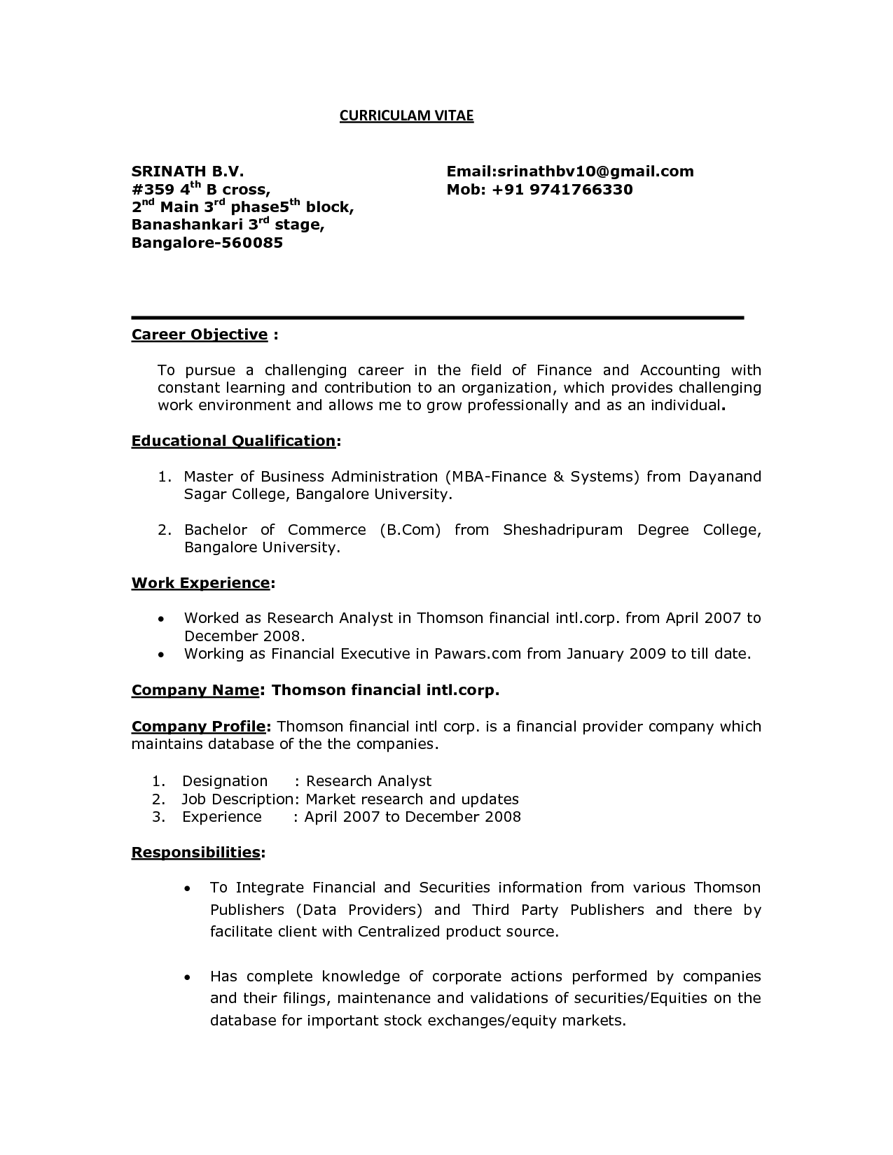Entry Level career objective for resume for fresher in Reserach Analyst