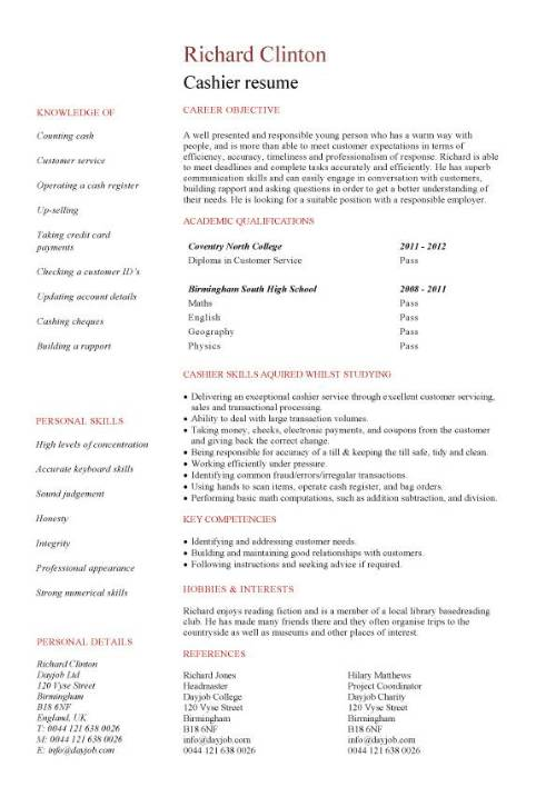 Entry Level Cashier Resume Job Duties Of A Cashier